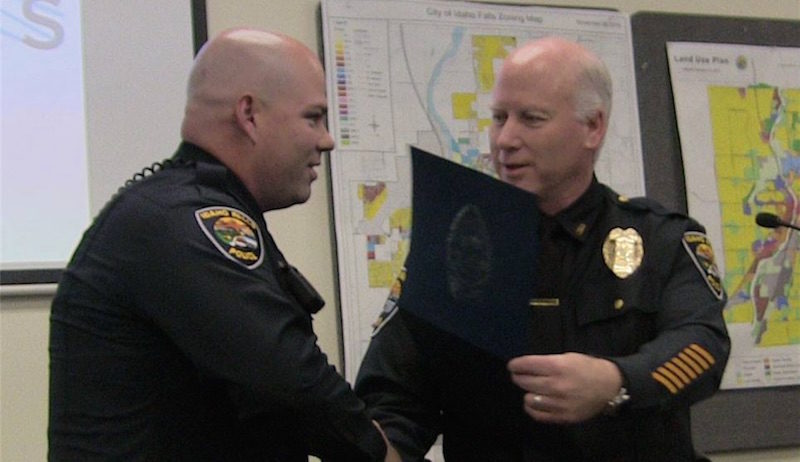 Idaho Falls Police Officer Blaine Reed was honored by Chief Mark McBride  during Thursday's City Council Meeting. / Photo courtesy Idaho Falls Police  ...