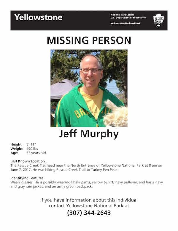 Missing hiker reported at Yellowstone