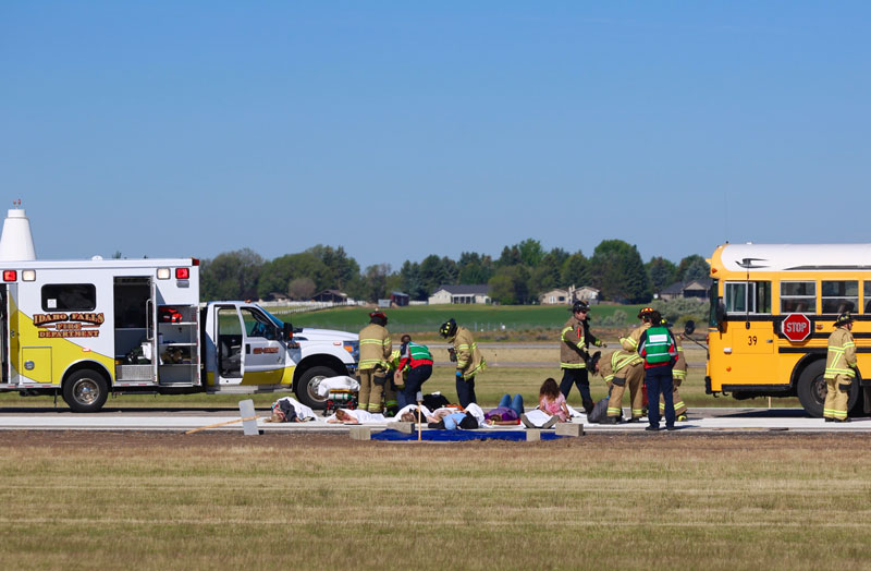 During the event, emergency responders had to extinguish a mock fire within three minutes from the initial call that an aircraft accident happened.