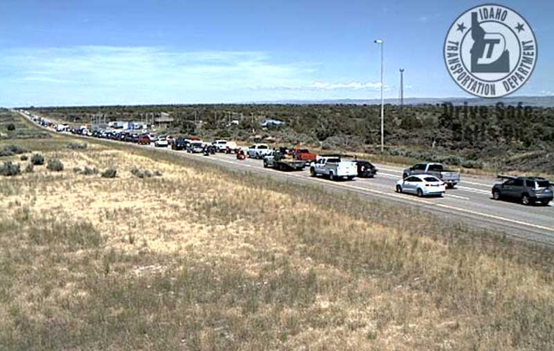 An Idaho Transportation Department camera shows traffic conditions on northbound I-15 between Blackfoot and Idaho Falls Friday afternoon.   ITD