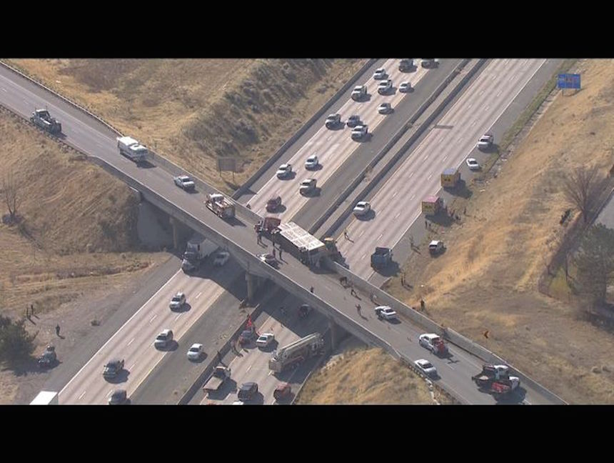 Cows fall from Utah overpass onto I-15 after semitrailer