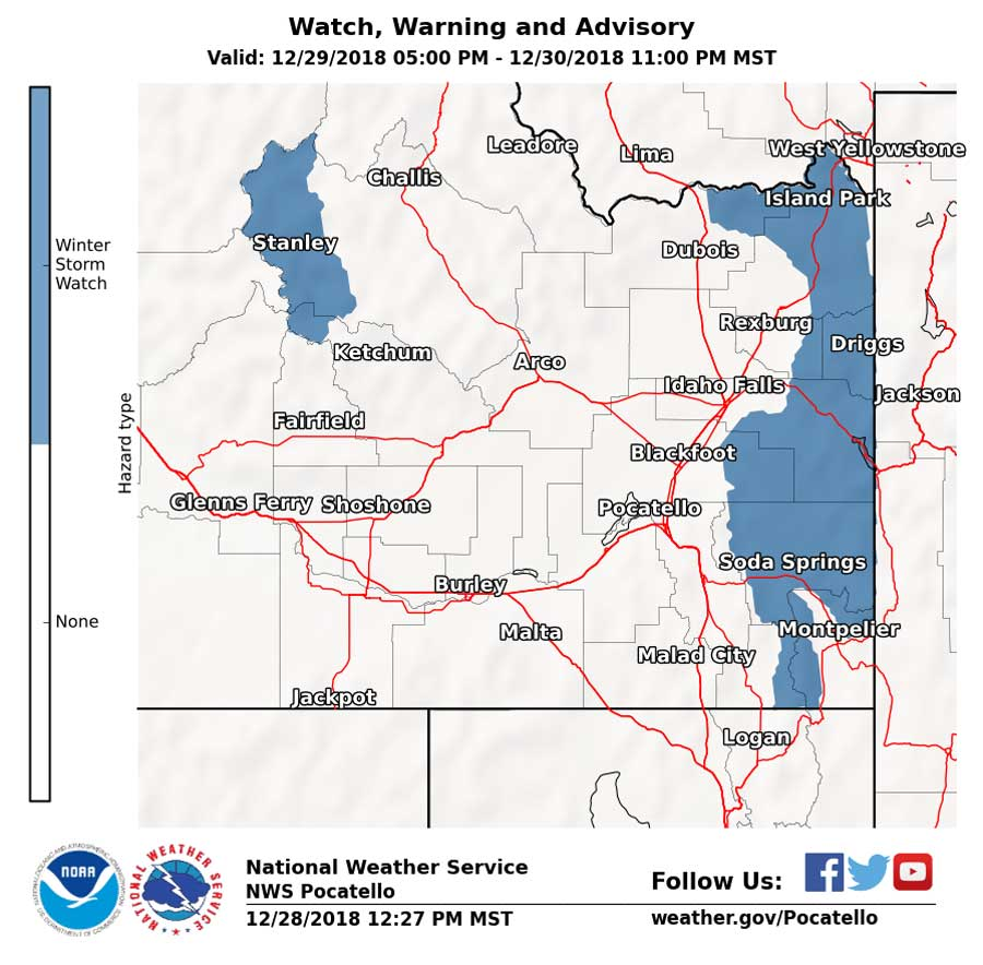 Winter storm watch in effect for eastern Idaho this weekend | East on idaho travel map, idaho map with towns, boise idaho state map, idaho speed limit map, idaho highway map, idaho traffic flow map, idaho topographic map, idaho temperature map,