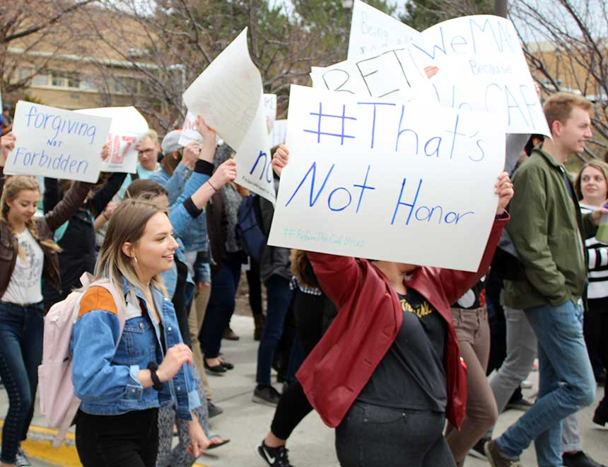 Students protest handling of BYU-Idaho honor code violations | East