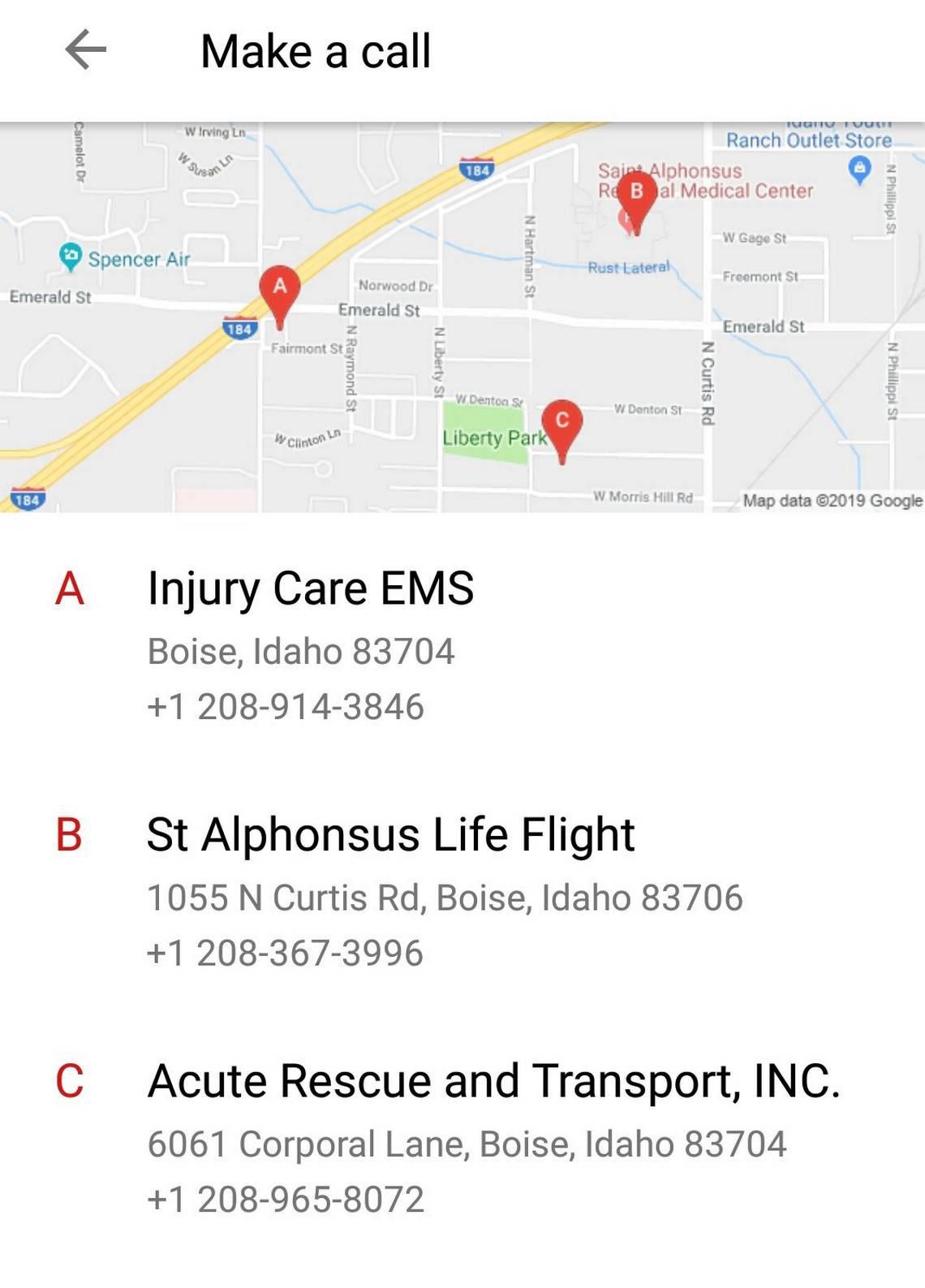 Android ambulance list