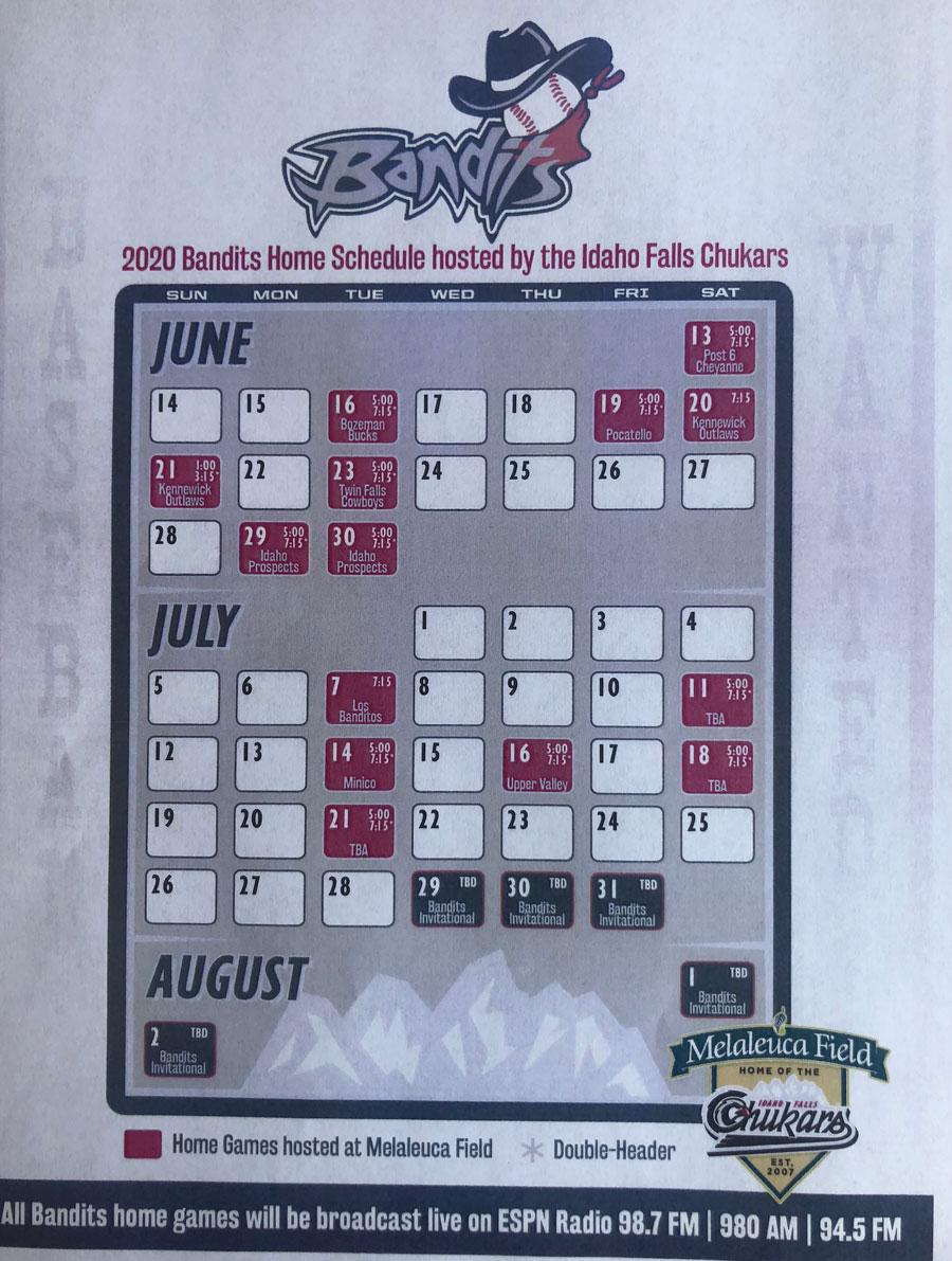 Bandits schedule