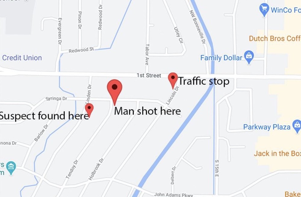 map of area of police pursuit
