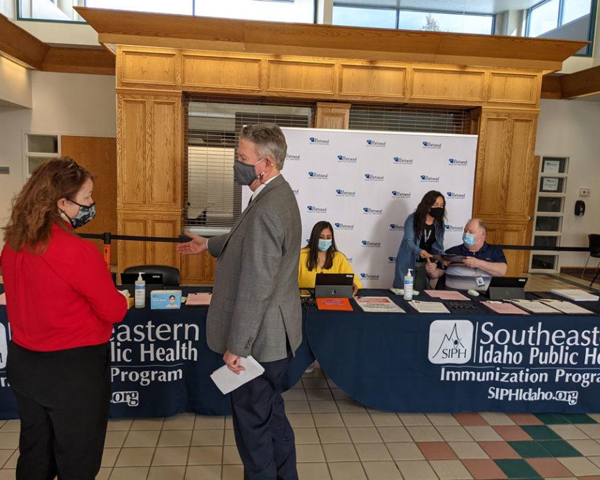 Southeastern Idaho Public Health Director Maggie Mann and Governor Brad Little, ISU Sports and Orthopedic Medicine Clinic