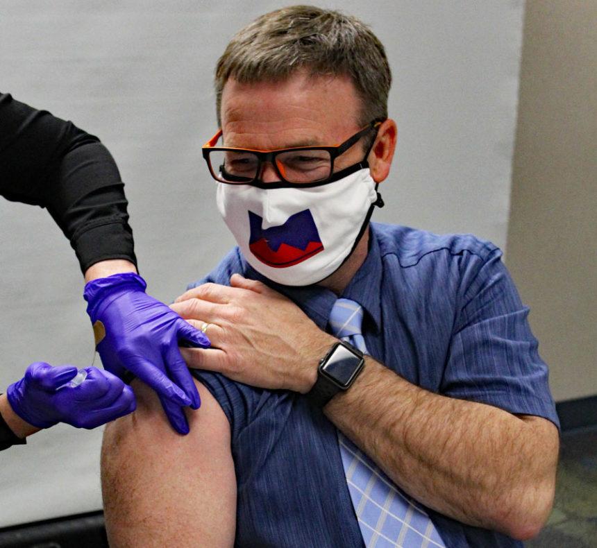 Pocatello Mayor Brian Blad receives the second dose of the COVID-19 vaccine