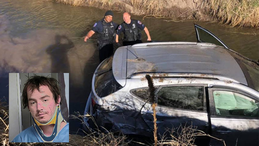 Ronald Ray Hymas, stolen vehicle in canal following chase