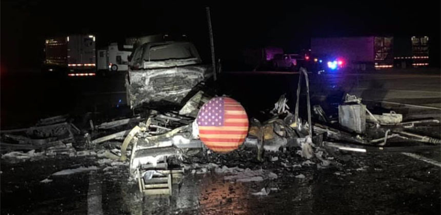 Flag unharmed during camper trailer fire 1