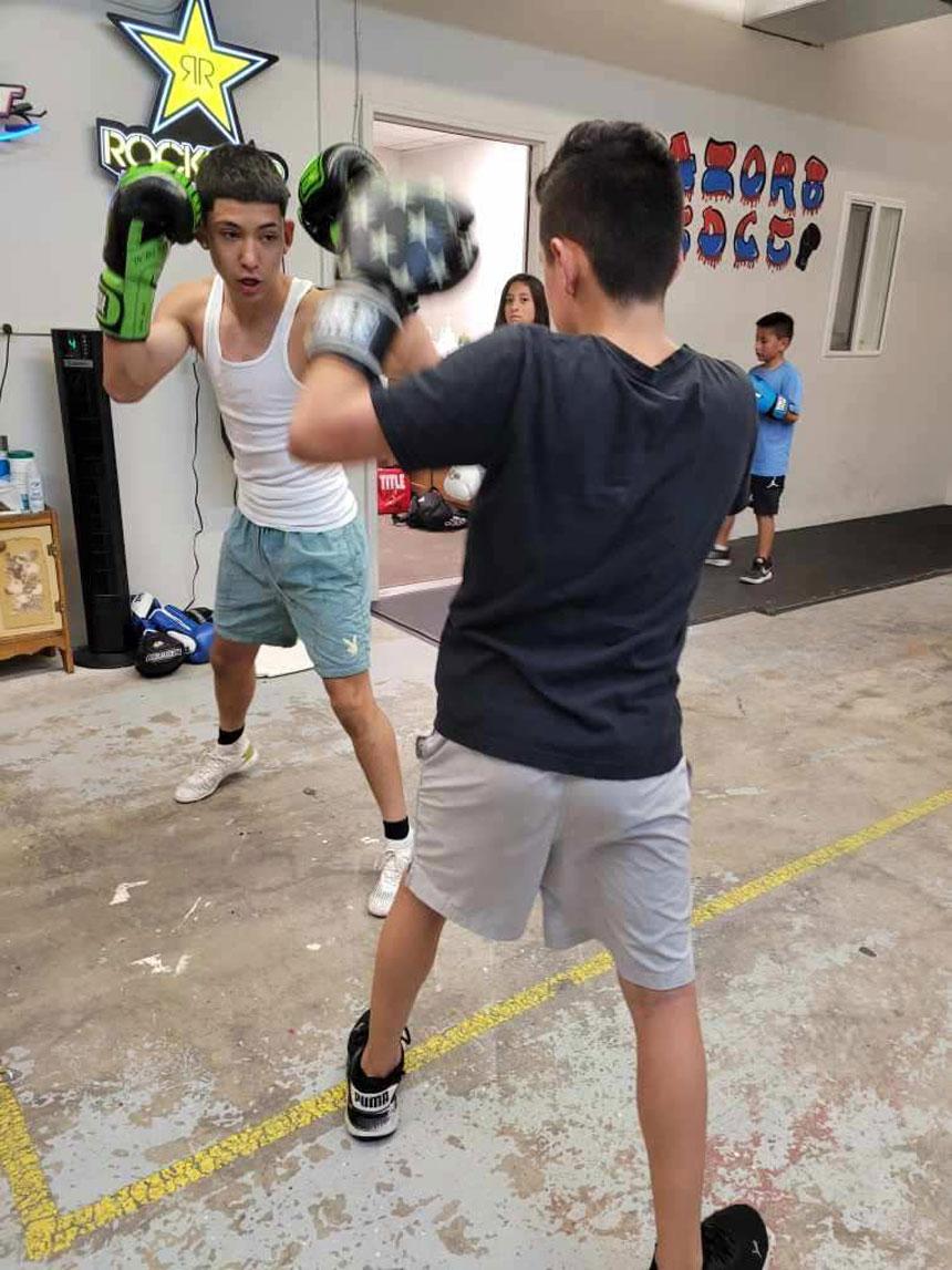 club members sparring