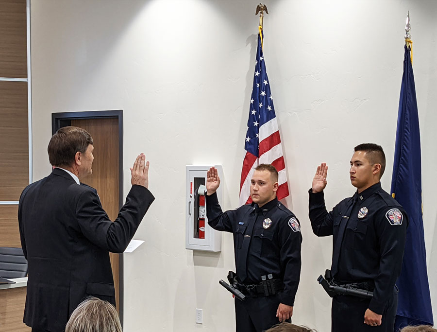 Officers Anderson and Robertson sworn in by Chubbuck Mayor Kevin England