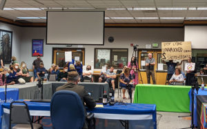 Pocatello City Council discusses mask mandates while members of the public look on