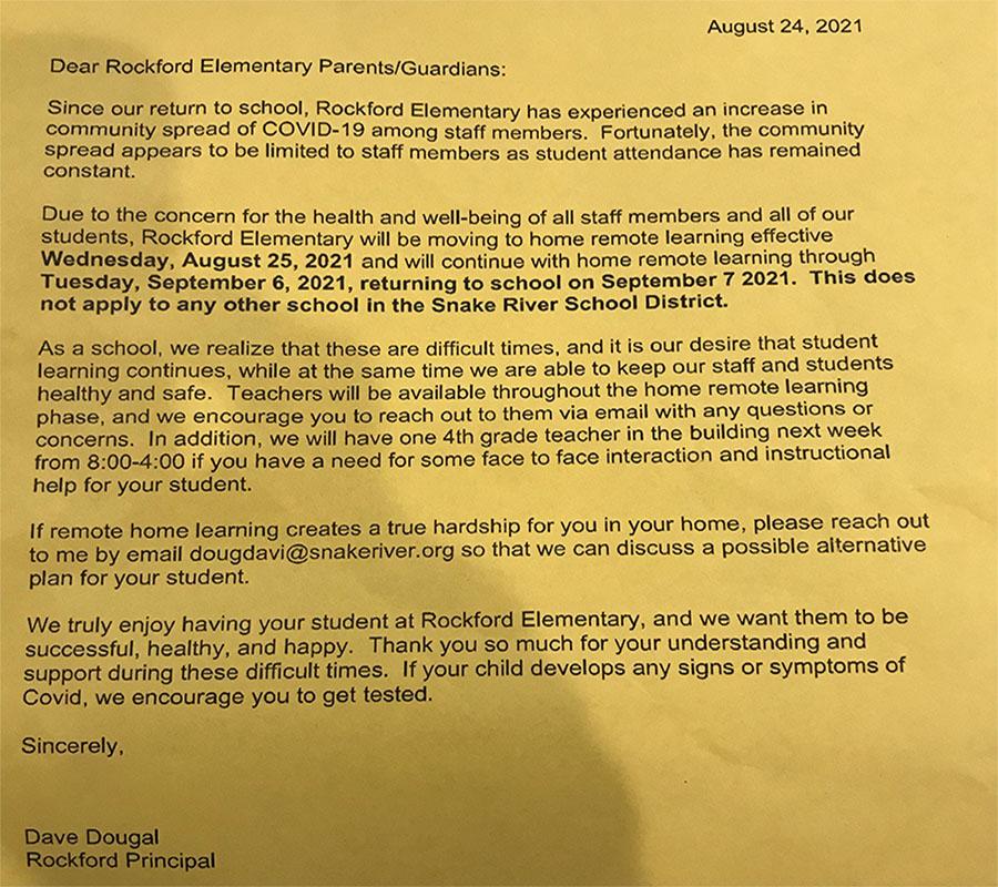 Rockford elementary COVID letter
