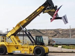 A reach loader at the Savage railyard in Pocatello