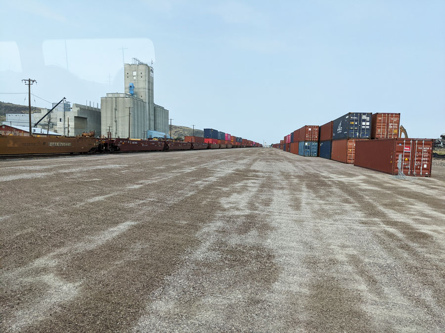 Hundreds of shipping containers as the Savage railyard in Pocatello