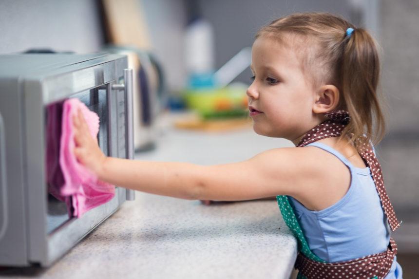 girl doing chores