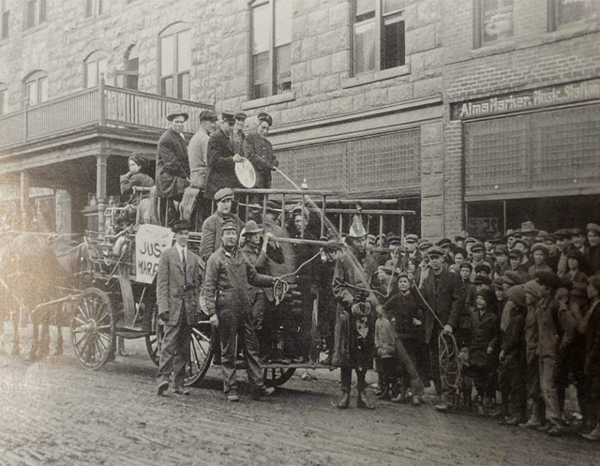 A newlywed couple is celebrated in Idaho Falls in the 1900s