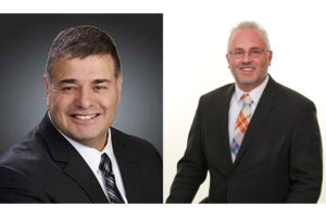 Roger Hernandez (left) and David Hall, Chubbuck council (2021)
