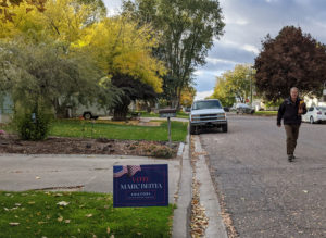 Marc Beitia walks American Falls neighborhood campaigning for votes
